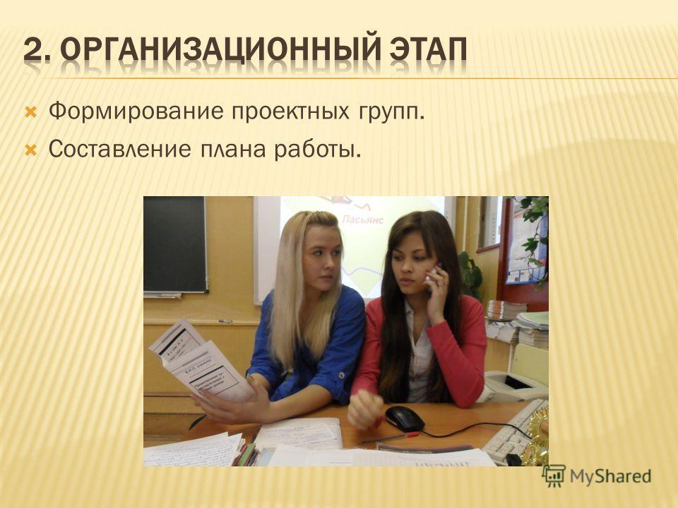 Формирование проектных групп. Составление плана работы.
