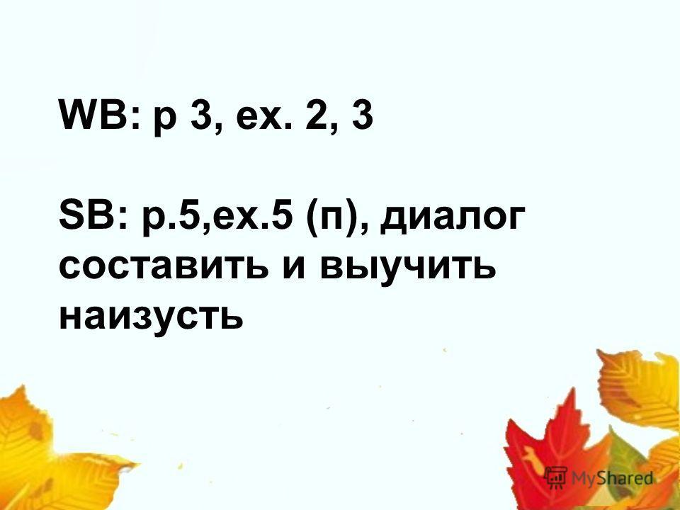 WB: p 3, ex. 2, 3 SB: p.5,ex.5 (п), диалог составить и выучить наизусть