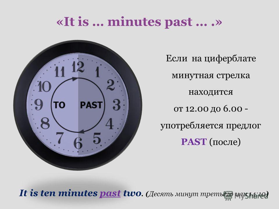 «It is … minutes past ….» Если на циферблате минутная стрелка находится от 12.00 до 6.00 - употребляется предлог PAST (после) It is ten minutes past two. (Десять минут третьего или 14:10)