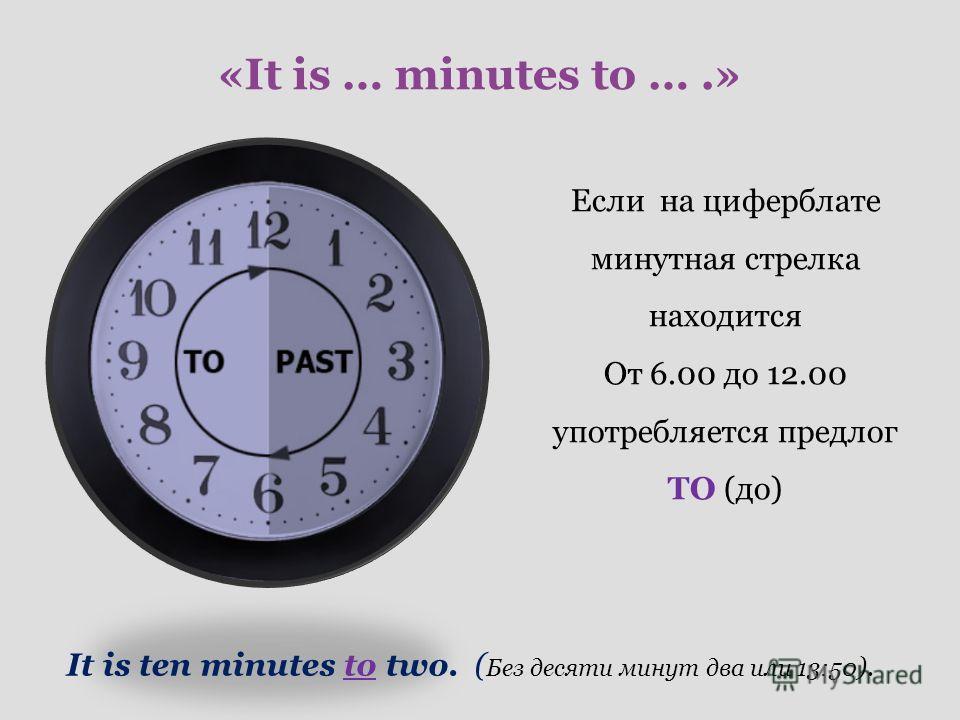 «It is … minutes to ….» Если на циферблате минутная стрелка находится От 6.00 до 12.00 употребляется предлог TO (до) It is ten minutes to two. ( Без десяти минут два или 13:50 ).