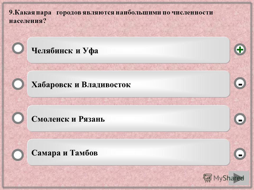 9.Какая пара городов являются наибольшими по численности населения? Челябинск и Уфа Хабаровск и Владивосток Смоленск и Рязань - - + - Самара и Тамбов