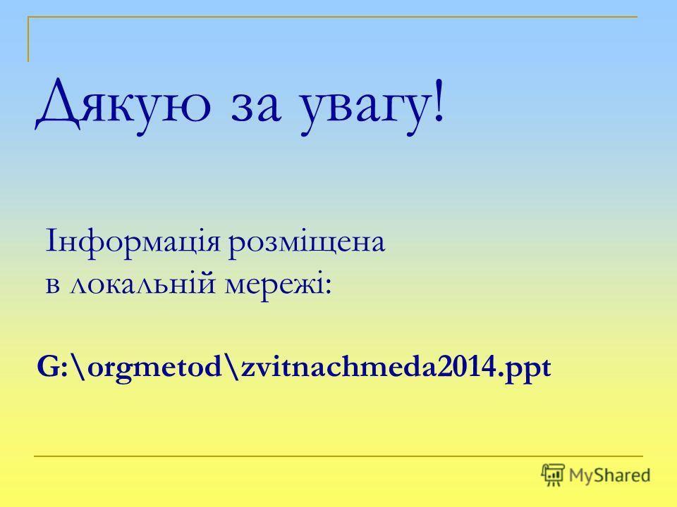 Дякую за увагу! Інформація розміщена в локальній мережі: G:\orgmetod\zvitnachmeda2014.ppt