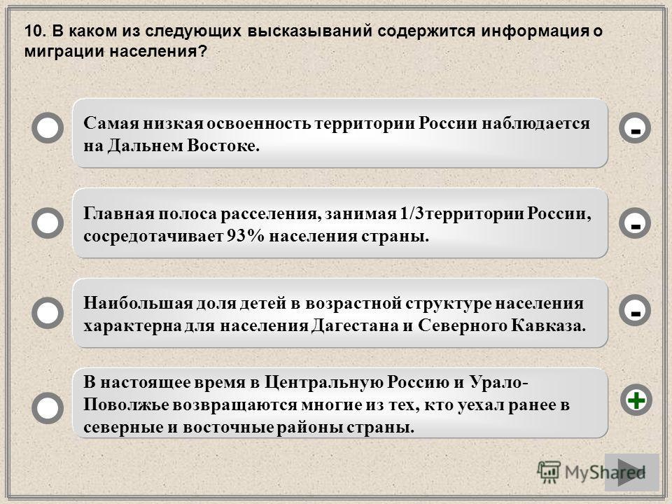 10. В каком из следующих высказываний содержится информация о миграции населения? Самая низкая освоенность территории России наблюдается на Дальнем Востоке. Главная полоса расселения, занимая 1/3территории России, сосредотачивает 93% населения страны