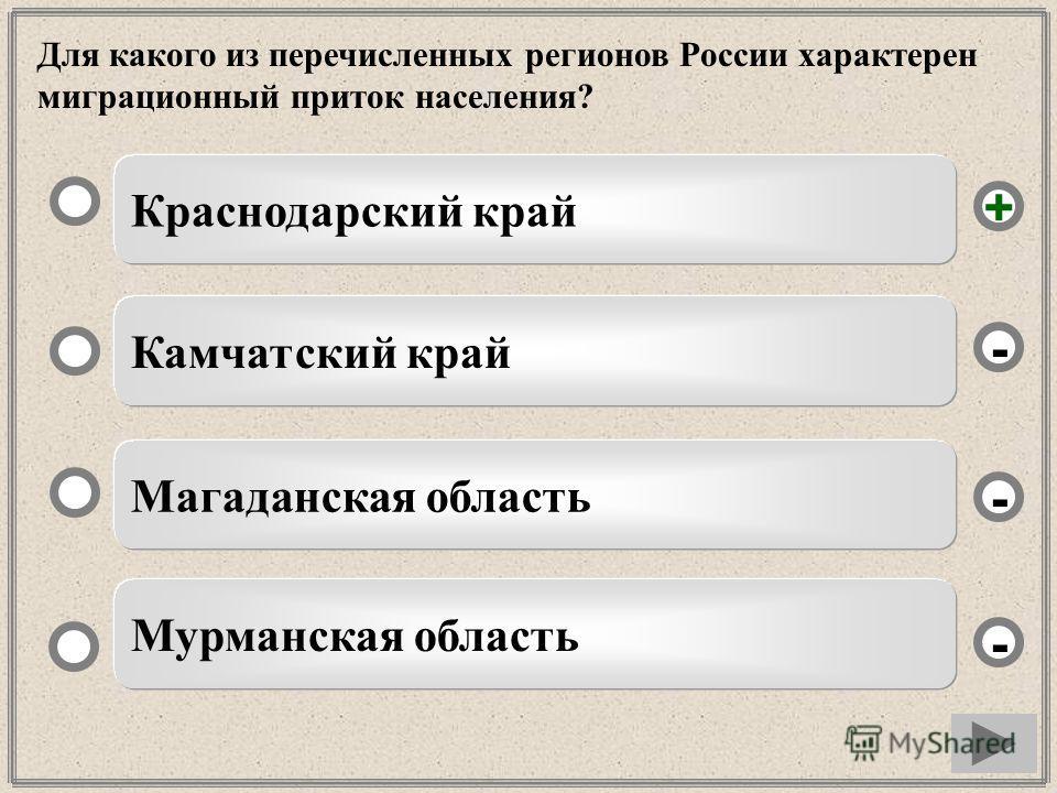 Для какого из перечисленных регионов России характерен миграционный приток населения? Краснодарский край Камчатский край Магаданская область Мурманская область - - + -
