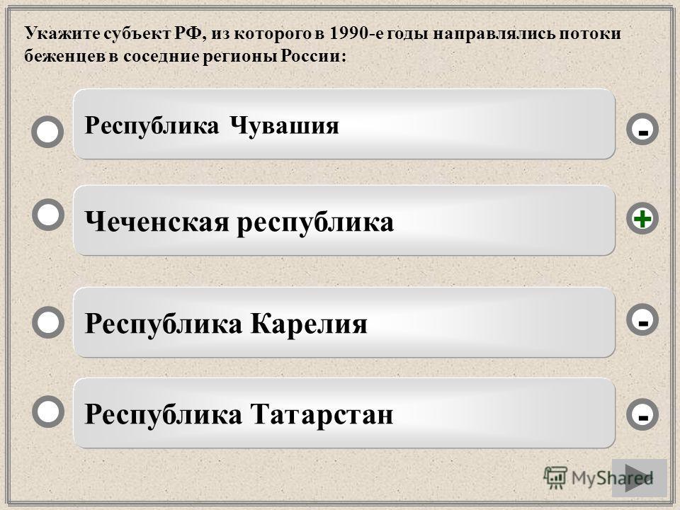 Укажите субъект РФ, из которого в 1990-е годы направлялись потоки беженцев в соседние регионы России: Чеченская республика Республика Карелия Республика Татарстан Республика Чувашия - - + -