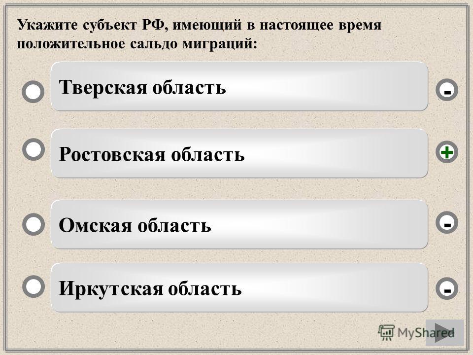 Укажите субъект РФ, имеющий в настоящее время положительное сальдо миграций: Ростовская область Омская область Иркутская область Тверская область - - + -