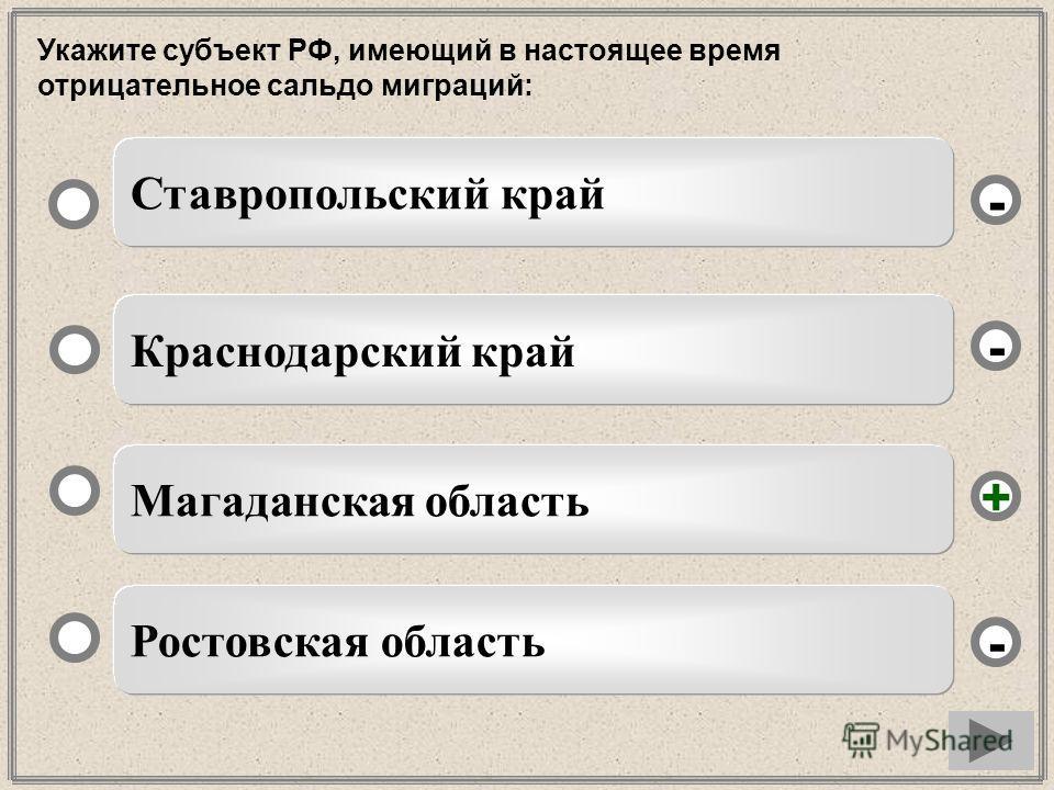 Укажите субъект РФ, имеющий в настоящее время отрицательное сальдо миграций: Магаданская область Краснодарский край Ростовская область Ставропольский край - - + -