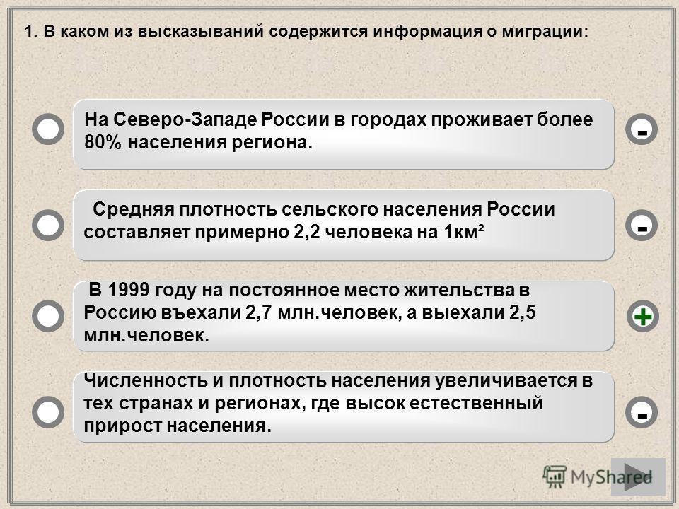 1. В каком из высказываний содержится информация о миграции: На Северо-Западе России в городах проживает более 80% населения региона. Средняя плотность сельского населения России составляет примерно 2,2 человека на 1км² В 1999 году на постоянное мест