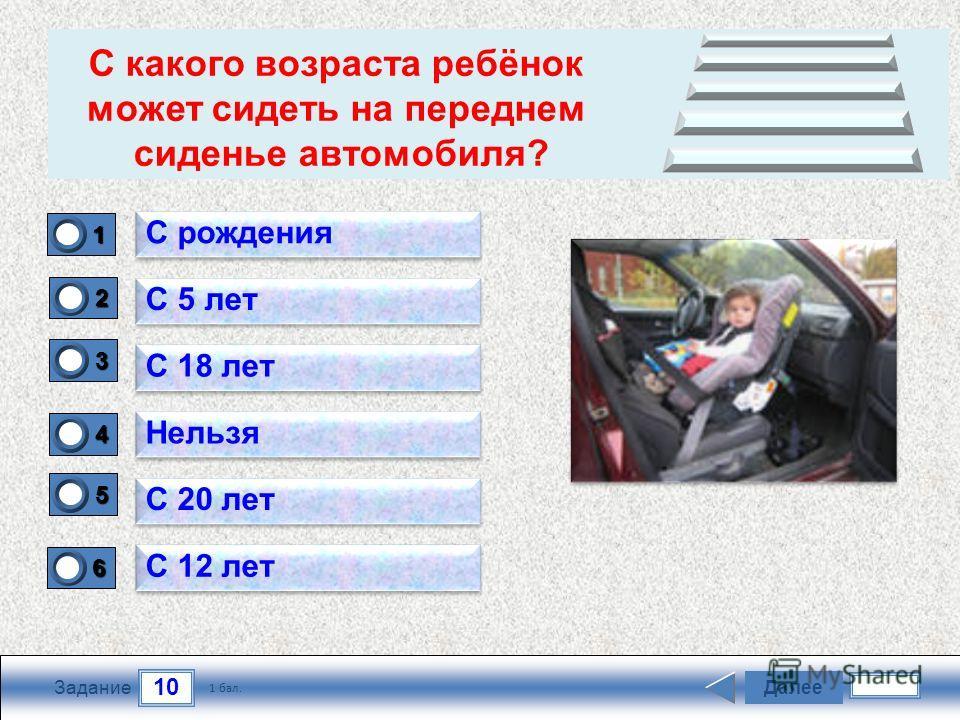 10 Задание Далее 1 бал. 1111 0 2222 0 3333 0 4444 0 5555 0 6666 0 С рождения С 5 лет С 18 лет Нельзя С 20 лет С 12 лет С какого возраста ребёнок может сидеть на переднем сиденье автомобиля?