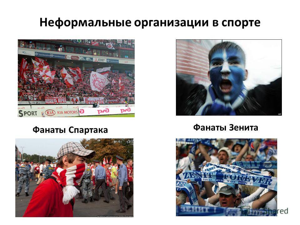 Неформальные организации в спорте Фанаты Спартака Фанаты Зенита