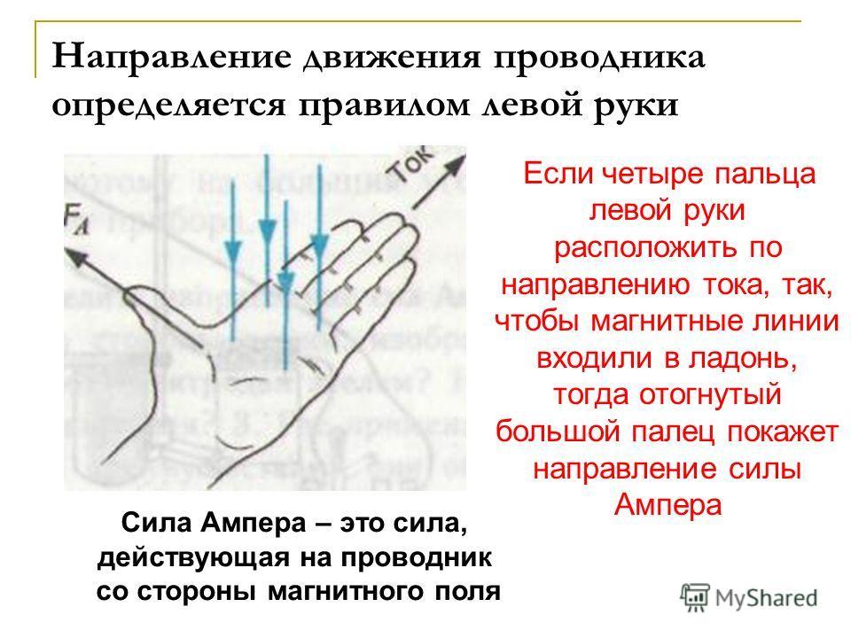 Направление движения проводника определяется правилом левой руки Если четыре пальца левой руки расположить по направлению тока, так, чтобы магнитные линии входили в ладонь, тогда отогнутый большой палец покажет направление силы Ампера Сила Ампера – э