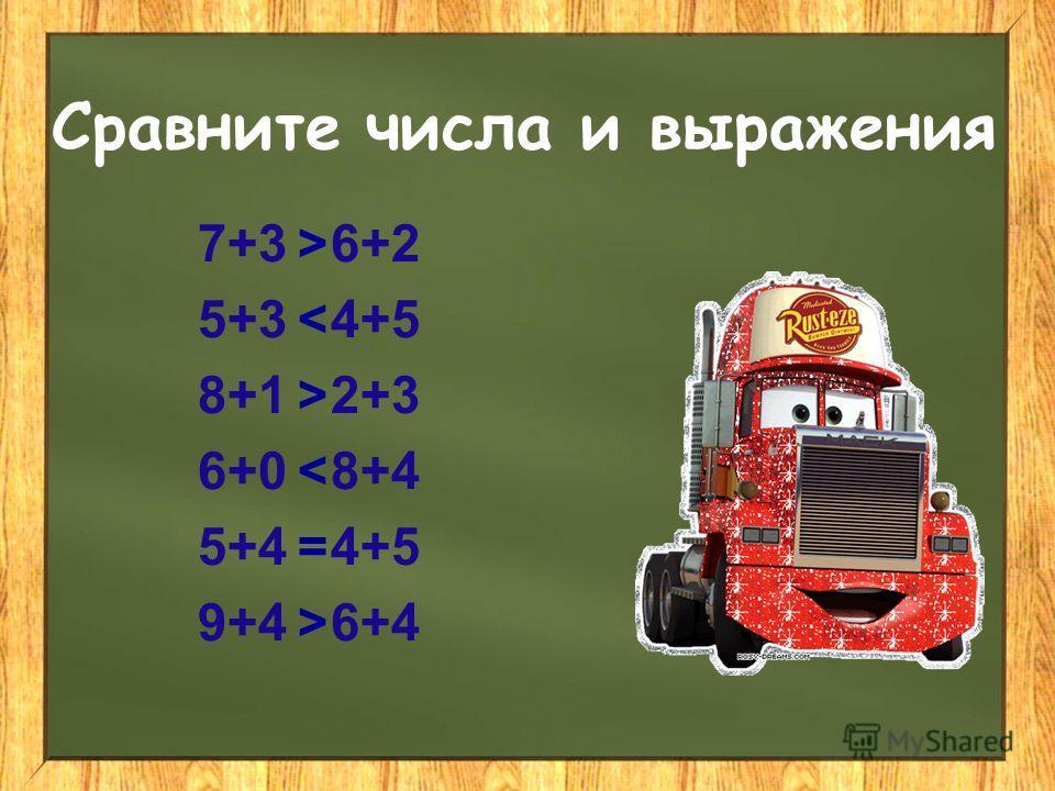 Сравните числа и выражения 7+3 6+2 5+3 4+5 8+1 2+3 6+0 8+4 5+4 4+5 9+4 6+4 > < > < = >