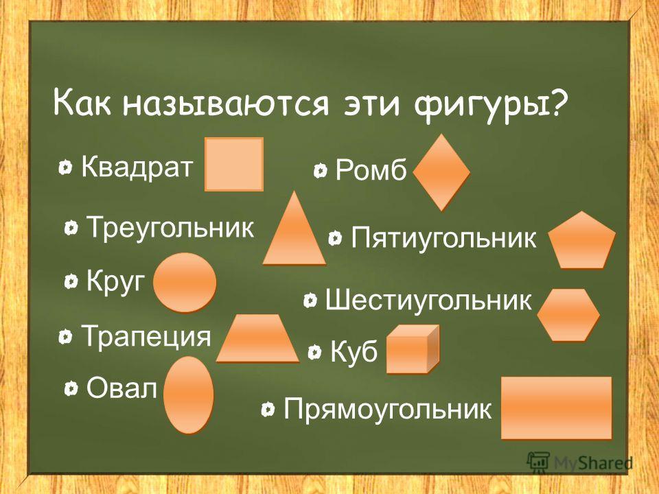 Как называются эти фигуры? Квадрат Круг Трапеция Треугольник Овал Ромб Пятиугольник Шестиугольник Куб Прямоугольник