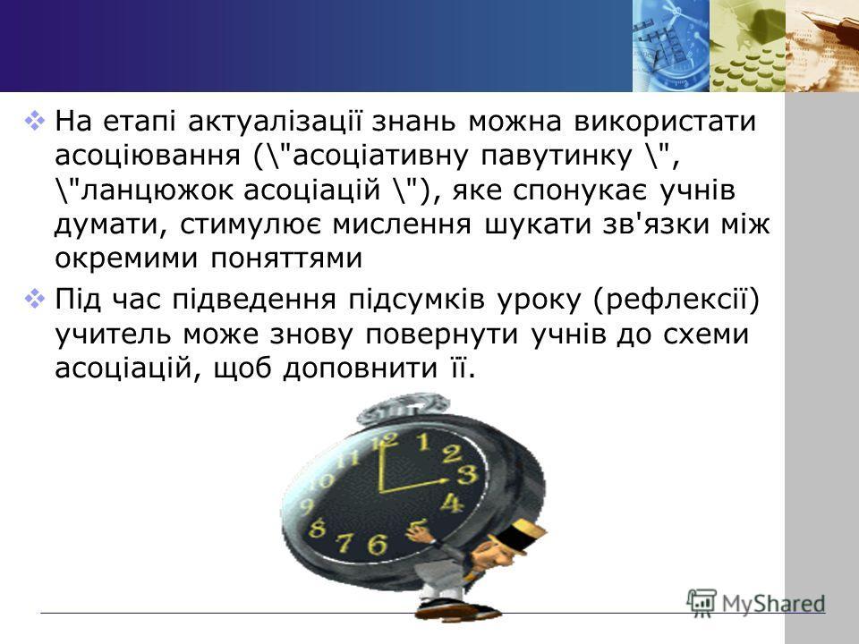 На етапі актуалізації знань можна використати асоціювання (\