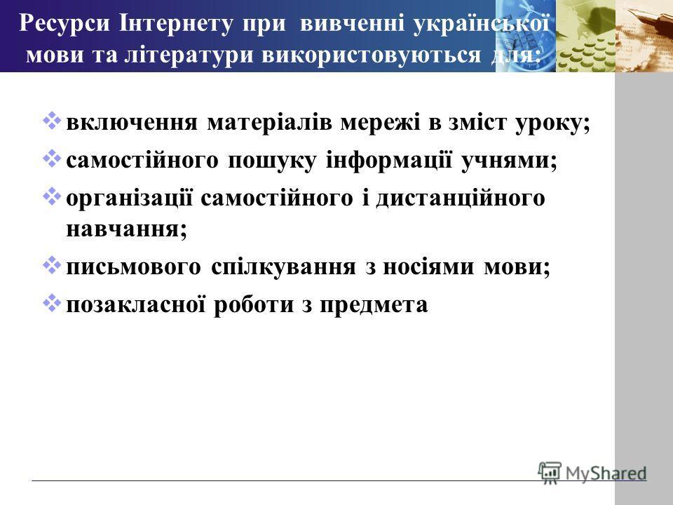 Ресурси Інтернету при вивченні української мови та літератури використовуються для: включення матеріалів мережі в зміст уроку; самостійного пошуку інформації учнями; організації самостійного і дистанційного навчання; письмового спілкування з носіями