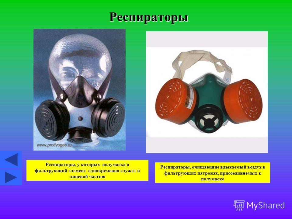 Респираторы Респираторы, у которых полумаска и фильтрующий элемент одновременно служат и лицевой частью Респираторы, очищающие вдыхаемый воздух в фильтрующих патронах, присоединяемых к полумаске