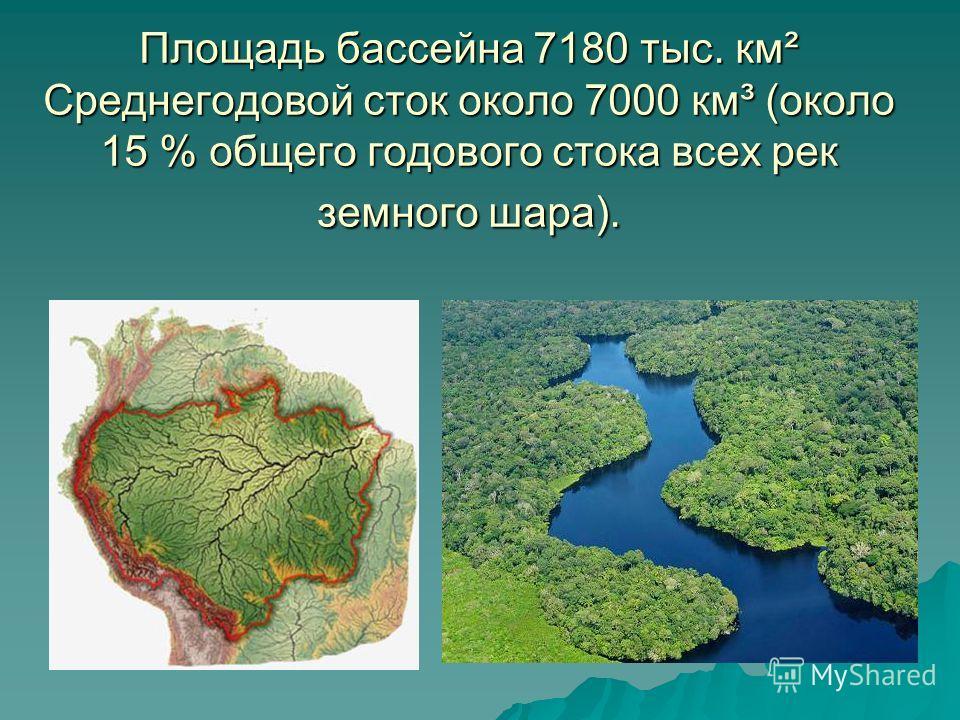 Площадь бассейна 7180 тыс. км² Среднегодовой сток около 7000 км³ (около 15 % общего годового стока всех рек земного шара).