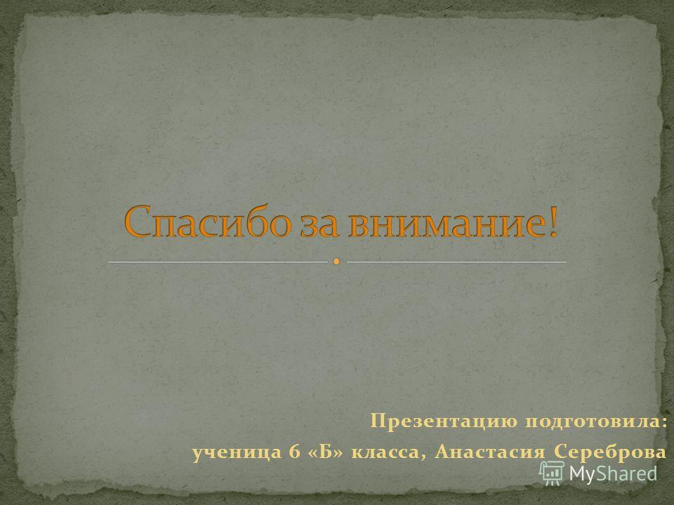 Презентацию подготовила: ученица 6 «Б» класса, Анастасия Сереброва
