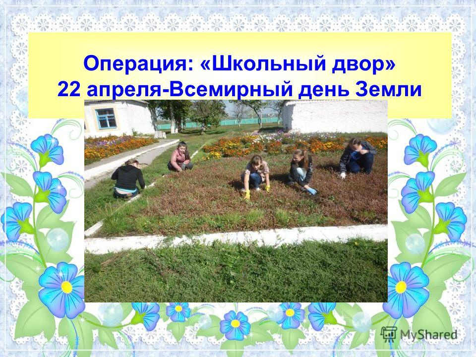 Операция: «Школьный двор» 22 апреля-Всемирный день Земли