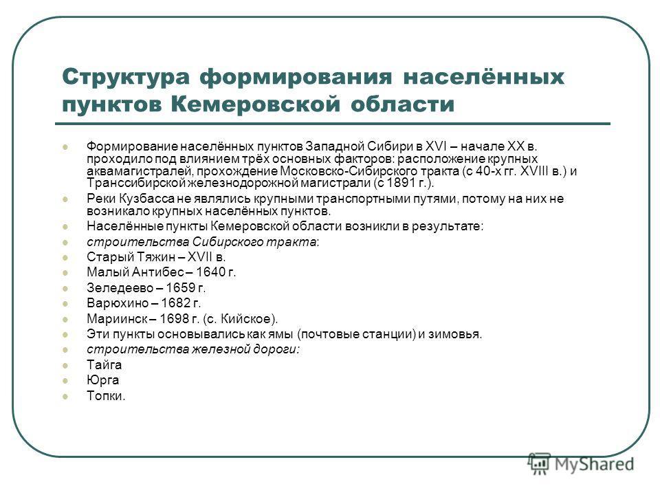 Структура формирования населённых пунктов Кемеровской области Формирование населённых пунктов Западной Сибири в XVI – начале XX в. проходило под влиянием трёх основных факторов: расположение крупных аквамагистралей, прохождение Московско-Сибирского т