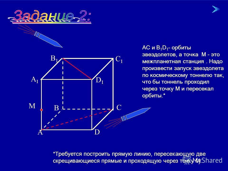 18.02.201413 А 1 В 1, АВ и D С – орбиты звездолетов, при этом А 1 В 1 и АВ скрещиваются. Возможно ли столкновение спутников при движении их по этим орбитам? B1B1 B C D A1A1 М А К О