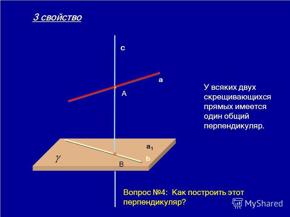 18.02.20147 У всяких двух скрещивающихся прямых имеется один общий перпендикуляр. a b c A B 3 свойство Вопрос 4: Как построить этот перпендикуляр?