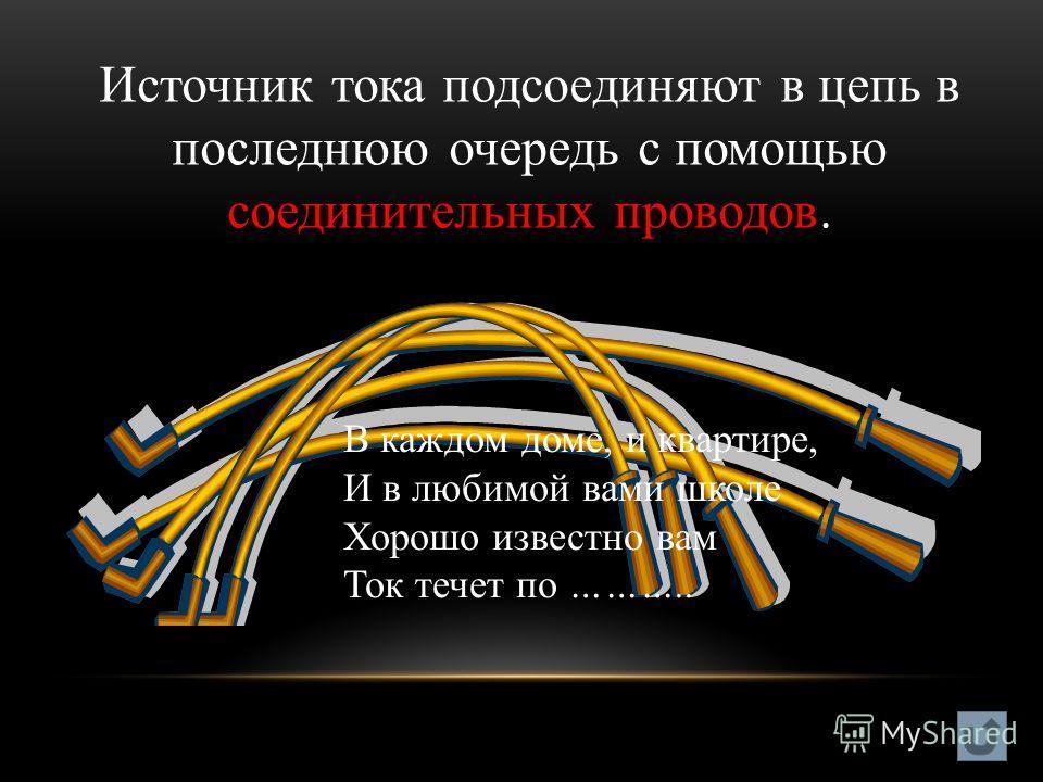 Источник тока подсоединяют в цепь в последнюю очередь с помощью соединительных проводов. В каждом доме, и квартире, И в любимой вами школе Хорошо известно вам Ток течет по ………..