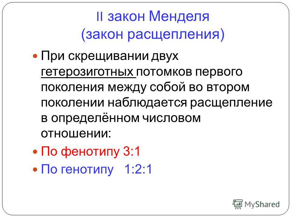 II закон Менделя (закон