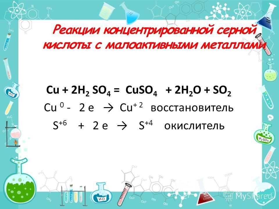Реакции концентрированной серной кислоты с малоактивными металлами Cu + 2H 2 SO 4 = CuSO 4 + 2H 2 O + SO 2 Cu 0 - 2 e Cu + 2 восстановитель S +6 + 2 e S +4 окислитель