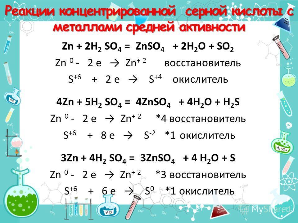Реакции концентрированной серной кислоты с металлами средней активности Zn + 2H 2 SO 4 = ZnSO 4 + 2H 2 O + SO 2 Zn 0 - 2 e Zn + 2 восстановитель S +6 + 2 e S +4 окислитель 4Zn + 5H 2 SO 4 = 4ZnSO 4 + 4H 2 O + H 2 S Zn 0 - 2 e Zn + 2 *4 восстановитель
