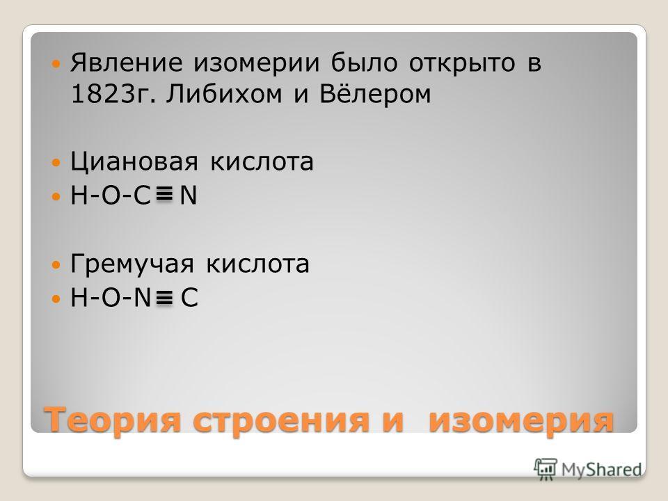 Теория строения и изомерия Явление изомерии было открыто в 1823г. Либихом и Вёлером Циановая кислота H-O-C N Гремучая кислота H-O-N C