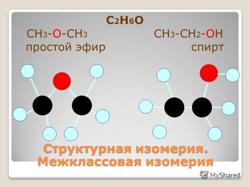 С 2 Н 6 О СН 3 -О-СН 3 СН 3 -СН 2 -ОН простой эфир спирт Структурная изомерия. Межклассовая изомерия