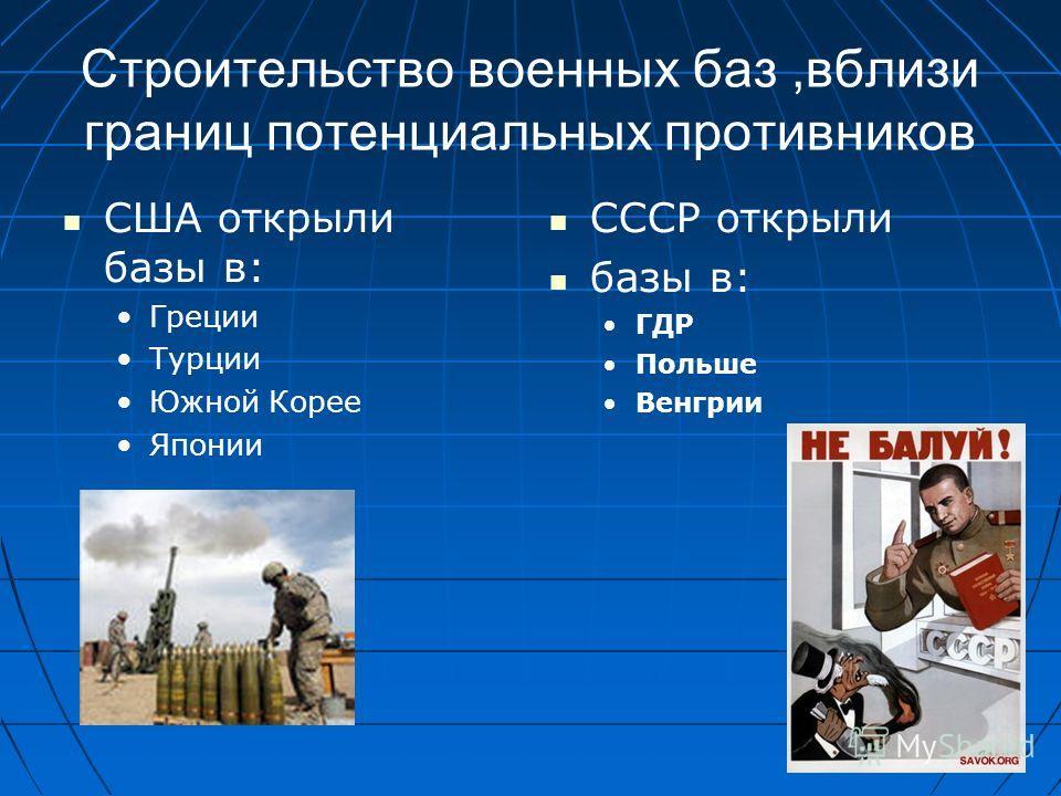 Строительство военных баз,вблизи границ потенциальных противников США открыли базы в: Греции Турции Южной Корее Японии СССР открыли базы в: ГДР Польше Венгрии