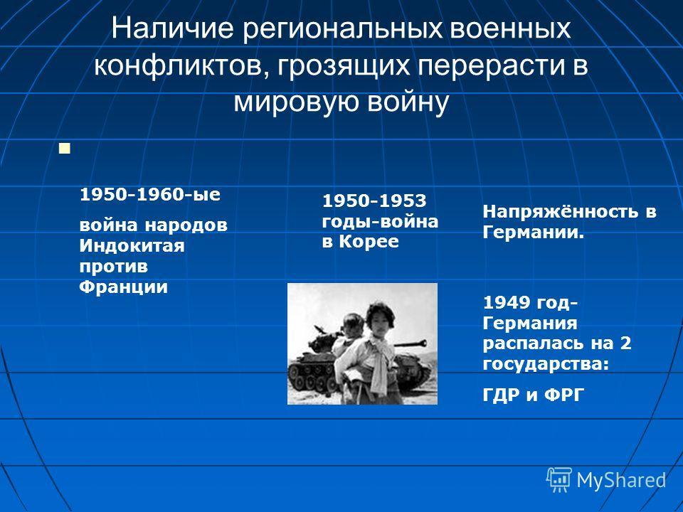 Наличие региональных военных конфликтов, грозящих перерасти в мировую войну 1950-1960-ые война народов Индокитая против Франции 1950-1953 годы-война в Корее Напряжённость в Германии. 1949 год- Германия распалась на 2 государства: ГДР и ФРГ
