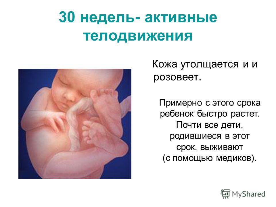 30 недель- активные телодвижения Кожа утолщается и и розовеет. Примерно с этого срока ребенок быстро растет. Почти все дети, родившиеся в этот срок, выживают (с помощью медиков).