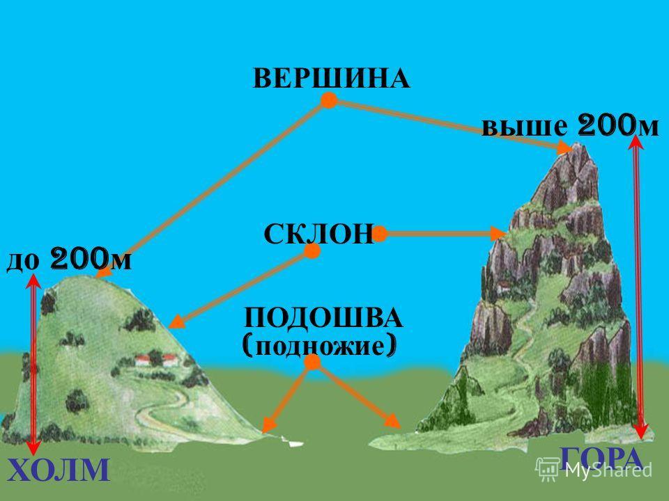 ХОЛМ ГОРА ПОДОШВА ( подножие ) ВЕРШИНА выше 200 м до 200 м СКЛОН