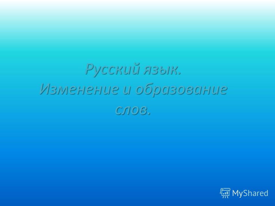 Русский язык. Изменение и образование слов.