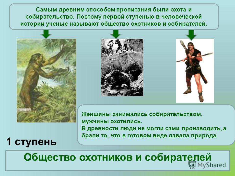 1 ступень Общество охотников и собирателей Самым древним способом пропитания были охота и собирательство. Поэтому первой ступенью в человеческой истории ученые называют общество охотников и собирателей. Женщины занимались собирательством, мужчины охо