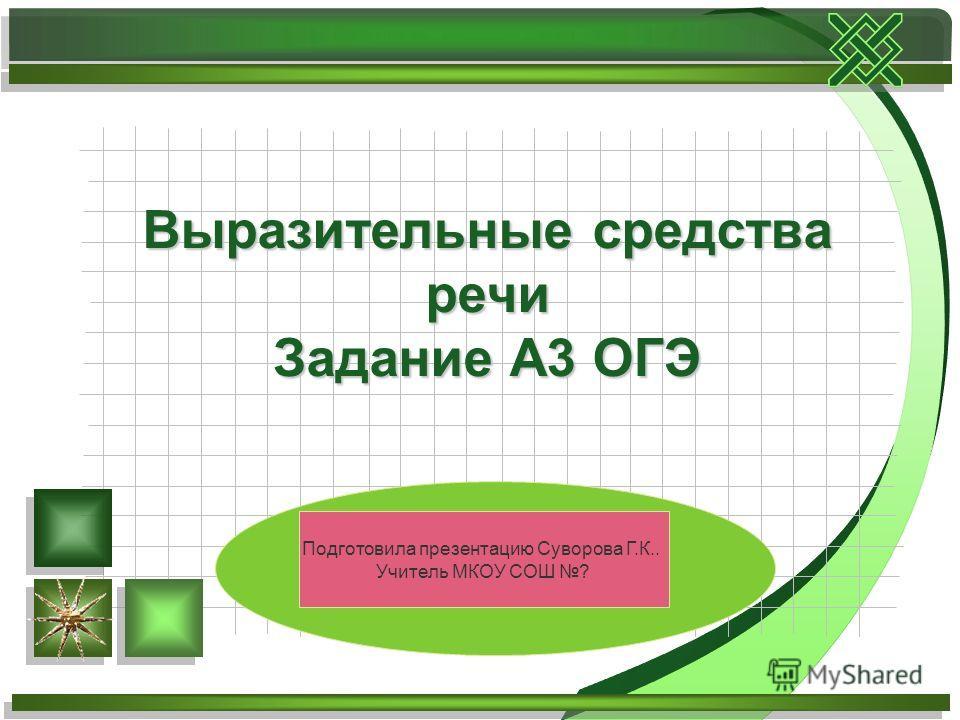 Выразительные средства речи Задание А3 ОГЭ Подготовила презентацию Суворова Г.К.. Учитель МКОУ СОШ ?