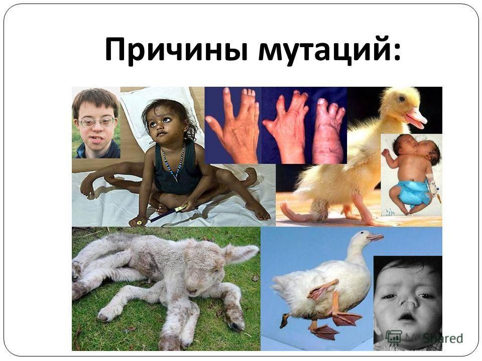 Причины мутаций :