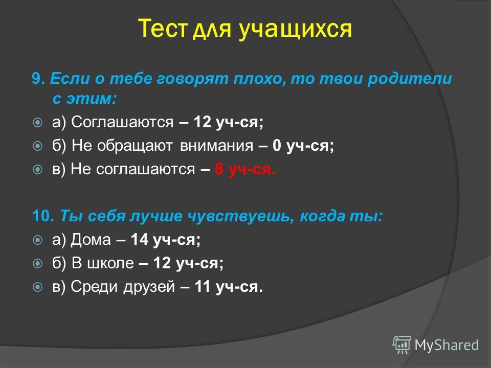 Тест для учащихся 9. Если о тебе говорят плохо, то твои родители с этим: а) Соглашаются – 12 уч-ся; б) Не обращают внимания – 0 уч-ся; в) Не соглашаются – 8 уч-ся. 10. Ты себя лучше чувствуешь, когда ты: а) Дома – 14 уч-ся; б) В школе – 12 уч-ся; в)