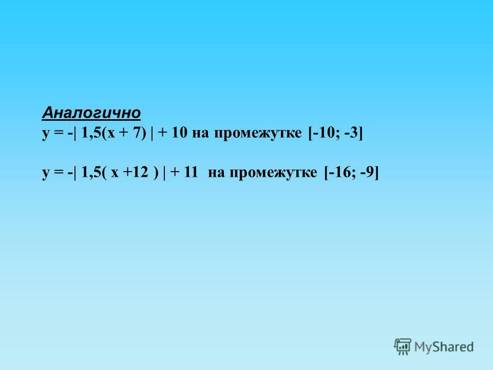 Аналогично у = -| 1,5(х + 7) | + 10 на промежутке [-10; -3] у = -| 1,5( х +12 ) | + 11 на промежутке [-16; -9]