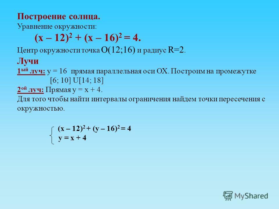 Построение солнца. Уравнение окружности: (х – 12) 2 + (х – 16) 2 = 4. Центр окружности точка О(12;16) и радиус R=2. Лучи 1 ый луч: у = 16 прямая параллельная оси ОХ. Построим на промежутке [6; 10] U[14; 18] 2 ой луч: Прямая у = х + 4. Для того чтобы