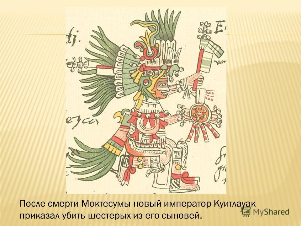 После смерти Моктесумы новый император Куитлауак приказал убить шестерых из его сыновей.