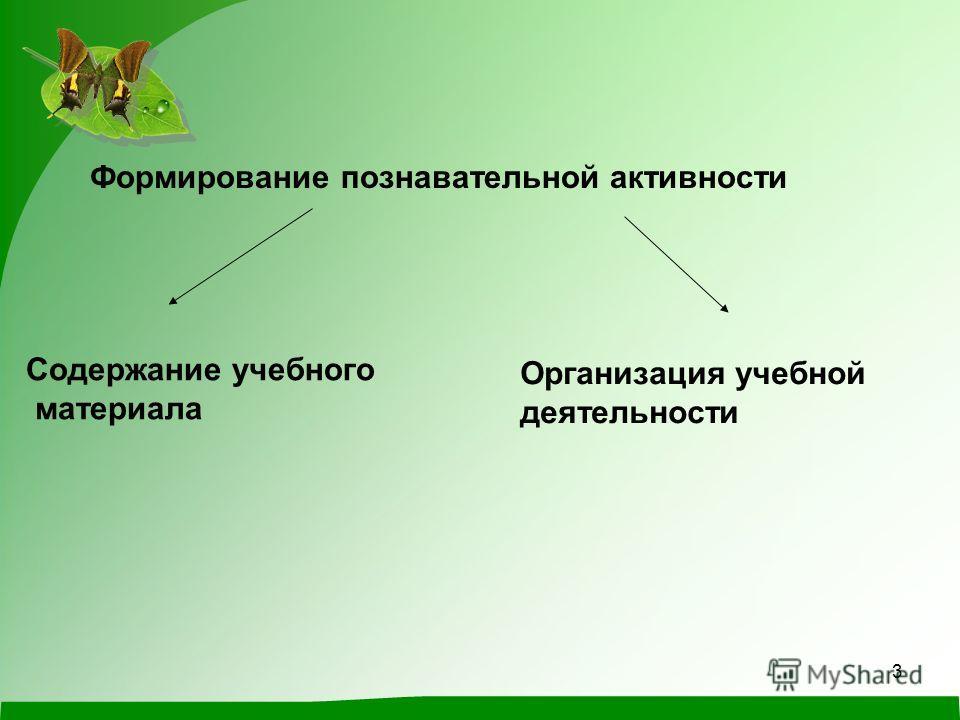 3 Формирование познавательной активности Содержание учебного материала Организация учебной деятельности