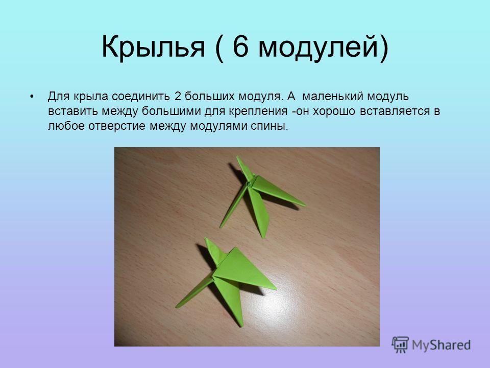 Крылья ( 6 модулей) Для крыла соединить 2 больших модуля. А маленький модуль вставить между большими для крепления -он хорошо вставляется в любое отверстие между модулями спины.