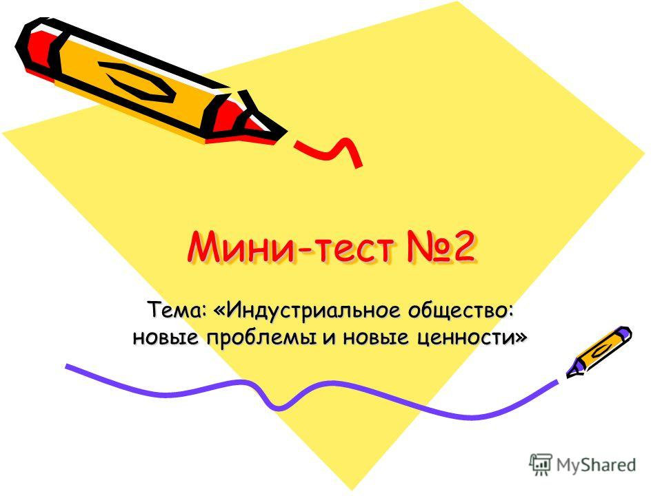 Мини-тест 2 Тема: «Индустриальное общество: новые проблемы и новые ценности»