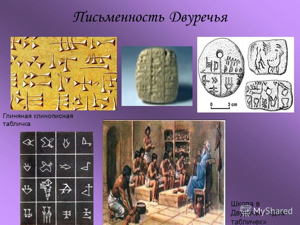 Письменность Двуречья Глиняная клинописная табличка Школа в Двуречье- «дом табличек»