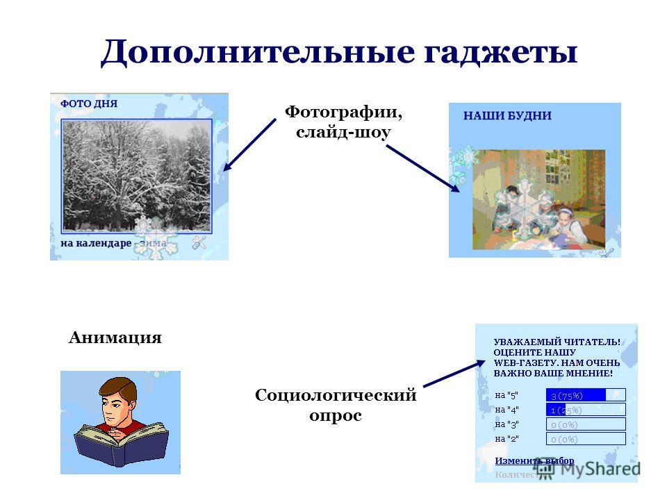 Дополнительные гаджеты Анимация Фотографии, слайд-шоу Социологический опрос