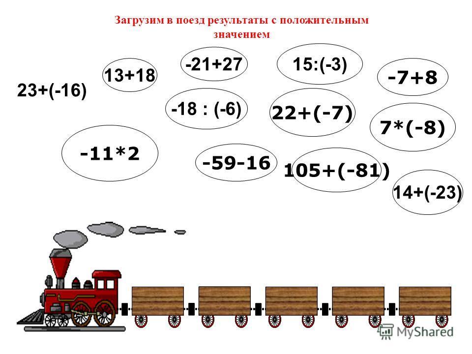 13+18 23+(-16) 14+(-23) -11*2 15:(-3) -21+27 -18 : (-6) 22+(-7) -59-16 105+(-81) -7+8 7*(-8) Загрузим в поезд результаты с положительным значением